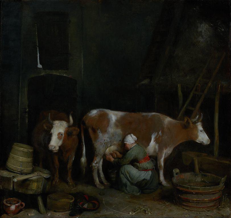A Maid Milking a Cow in a Barn, Gerard ter Borch